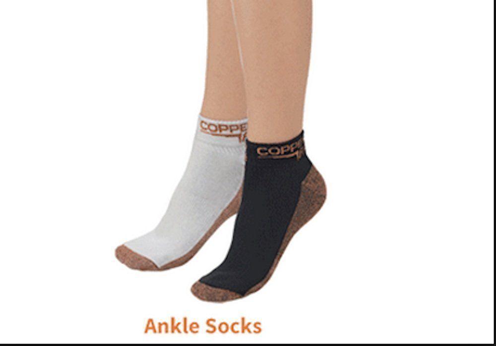 Copper fit ankle socks 2 pair black whitesmallmedium