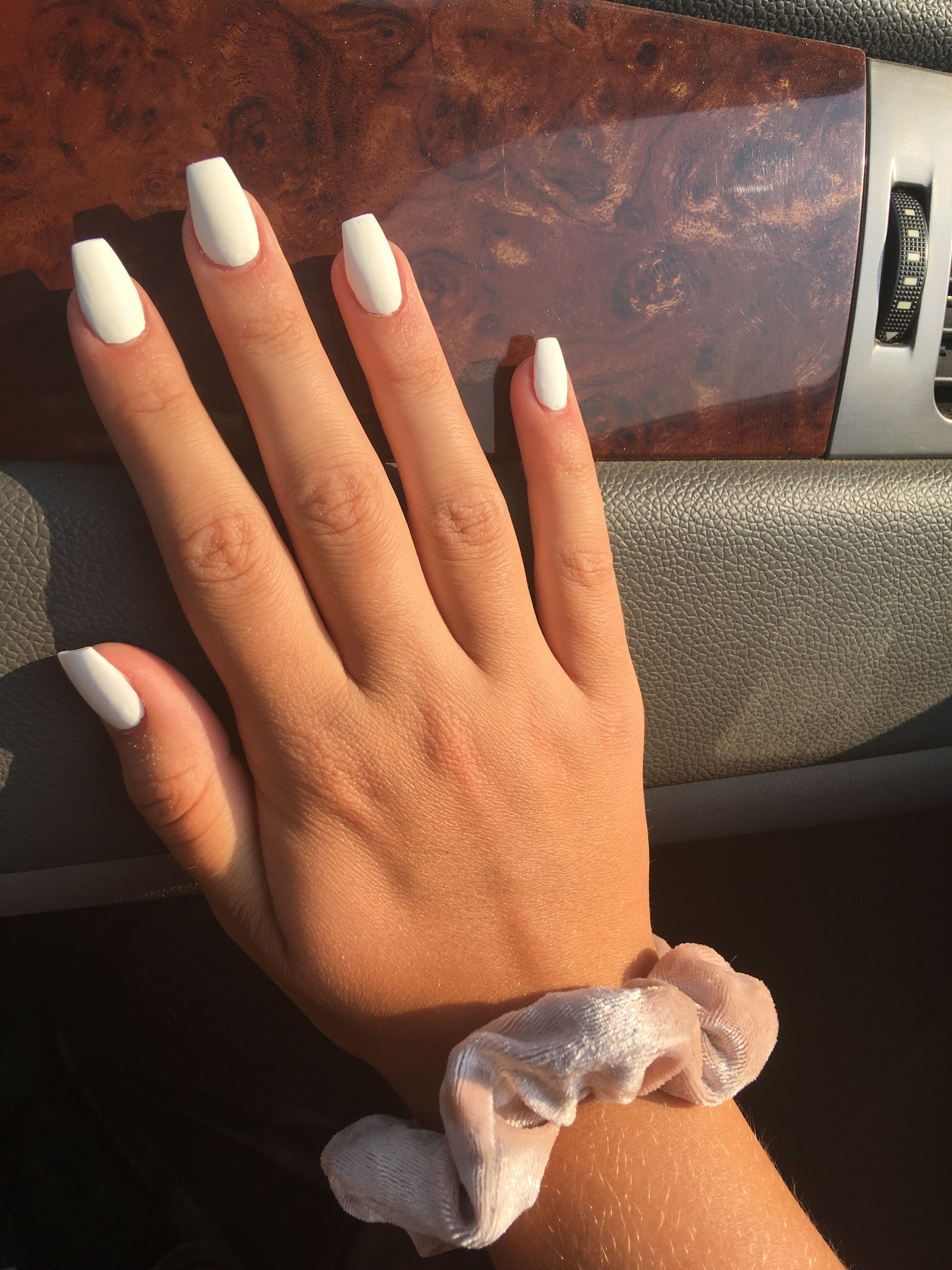 White Nails Coffin : white, nails, coffin, White, Acrylic, Nails, ❤️, Coffin, Short,, Simple, Nails,