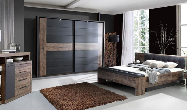 Chambre adulte contemporaine ch ne ch ne noir bellevue for Chambre adulte complete en pin