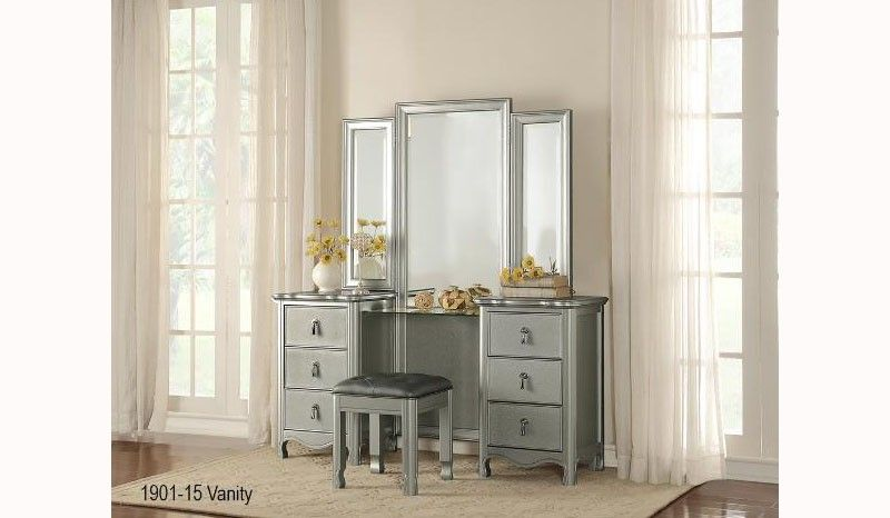 Best Homelegance 1901 15 Tri Folding Mirror Champagne Wood 400 x 300