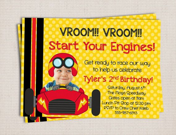 Adorable Little Racer Race Car Themed Birthday Party Printable