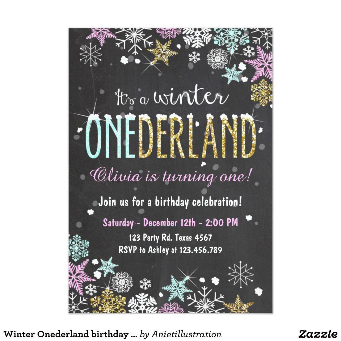 Winter Onederland birthday party invite Girl | GIRLS\' BIRTHDAY PARTY ...