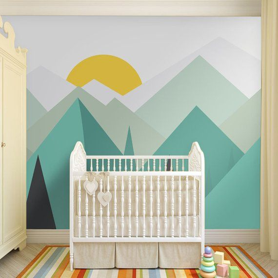 Baby Clouds and Moon Wall Mural Nursery neutral, Baby