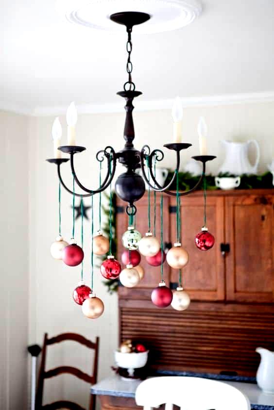 Easy Diy Hanging Ornament Chandelier Christmas Decor Idea Using