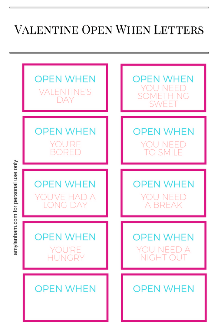 printable open when letters