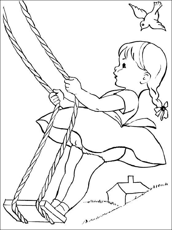 Little Girl On A Swing Coloring Page Coloring Pages Summer