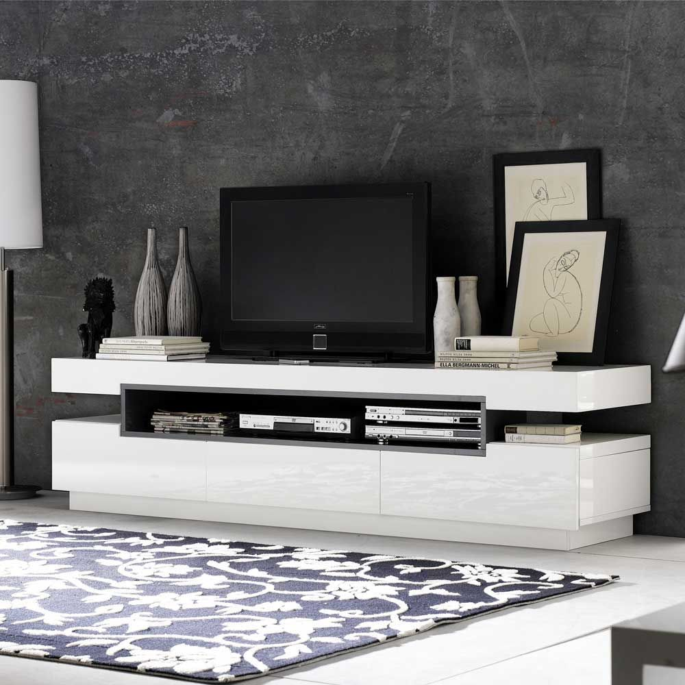 tv lowboard in hochglanz wei 200 cm breit jetzt bestellen unter. Black Bedroom Furniture Sets. Home Design Ideas