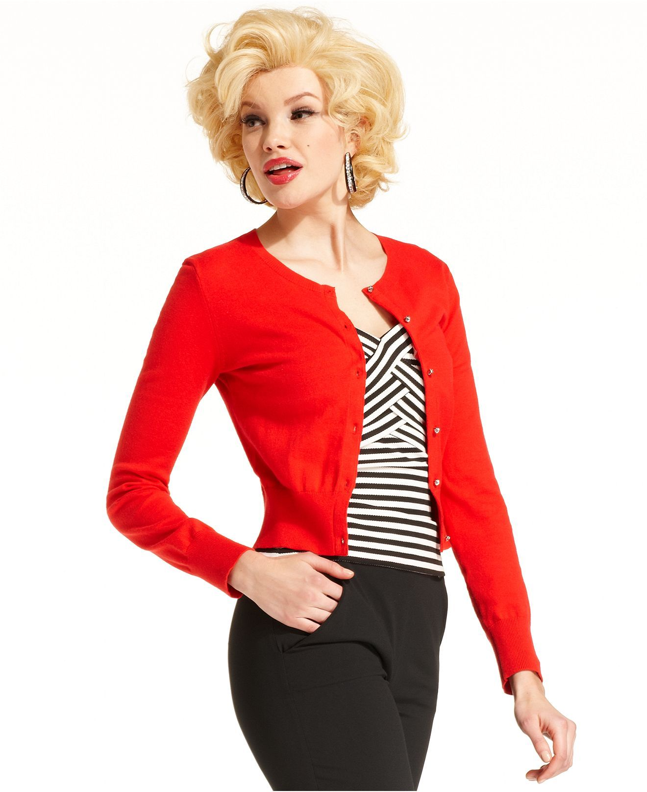 Marilyn Monroe Juniors Sweater, Long Sleeve Cropped Cardigan ...