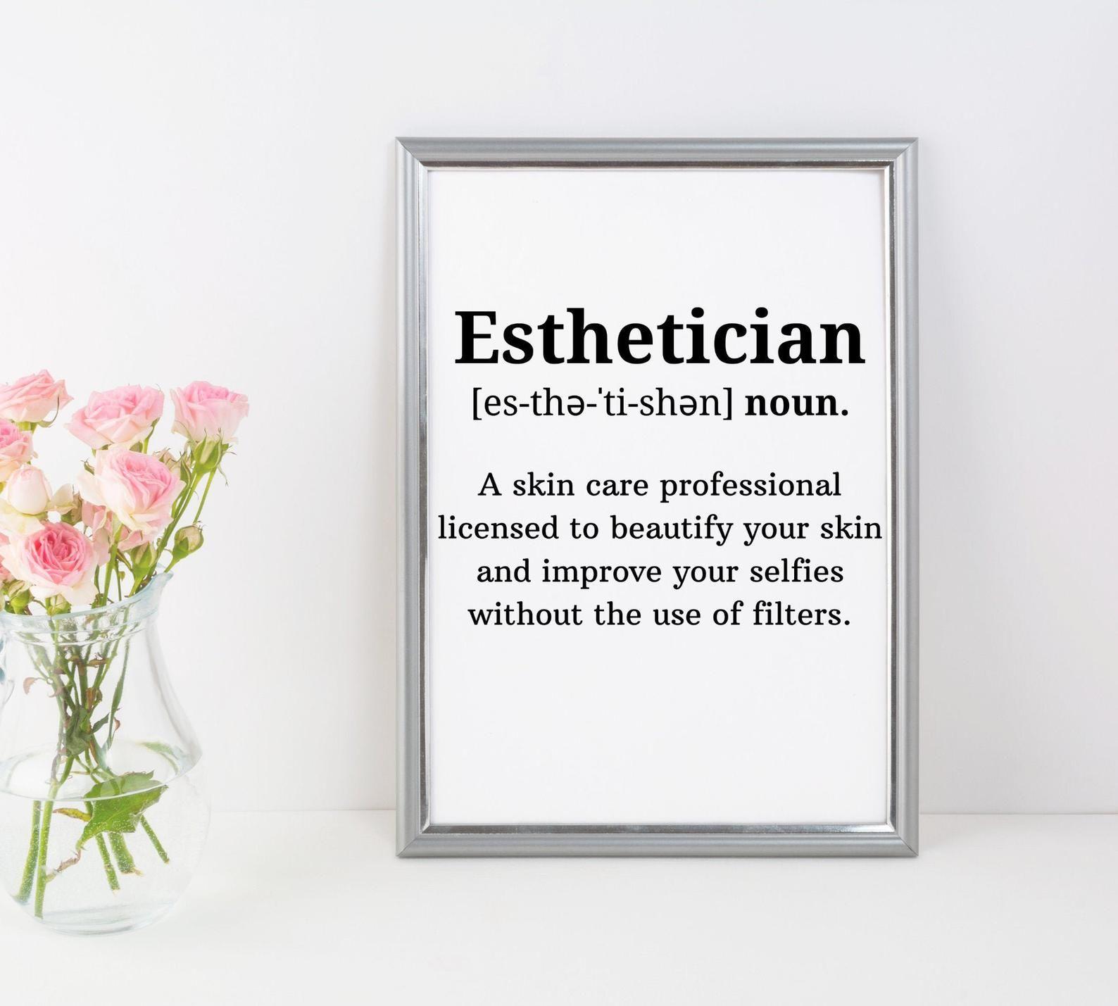 Esthetician Definition Print - Salon Decor Print, Esthetician Decor, Beauty Salon Decor, Printable Hair Salon Decor, Spa Décor