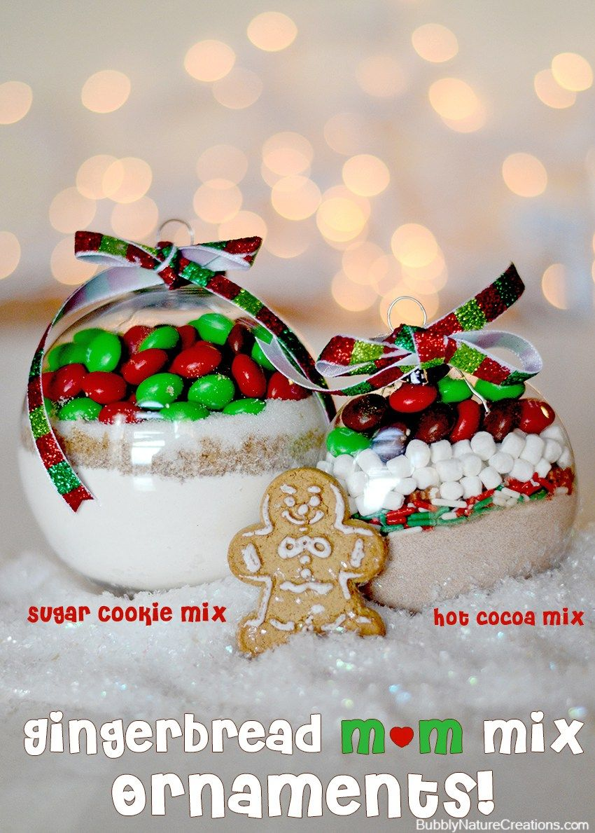 Gingerbread m&m mix ornaments (sugar cookie and hot cocoa) These ...