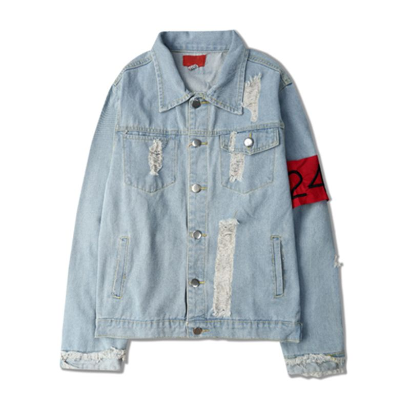 >> Click to Buy << denim hole jackets 2017 harajuku bigbang same paragraph vintage zipper fringed armbands denim jacket men women loose #Affiliate