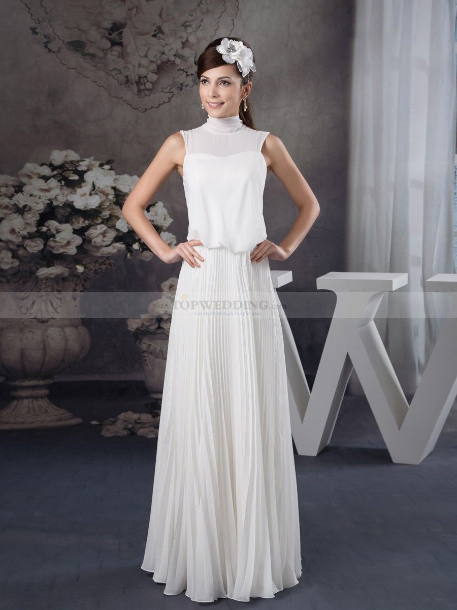 Beach wedding mother of the bride  Olida  High Neck Sleeveless Pleated Chiffon Bridal Dress  Chiffon
