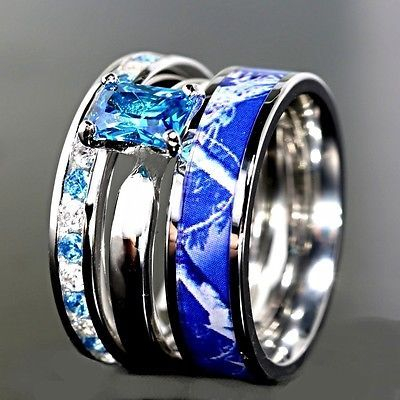 Details About 3pc Blue Camo Stainless Steel Band 925