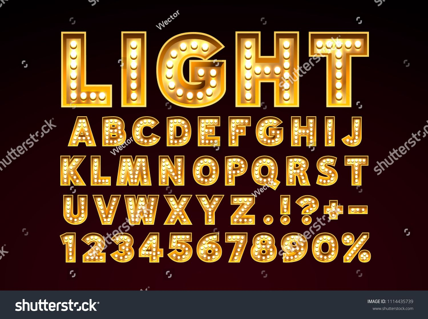 Font Lamp Symbol Gold Letter And Numbers Set Vector Illustration Sponsored Ad Graphic Design Portfolio Examples Infographic Design Template Gold Letters