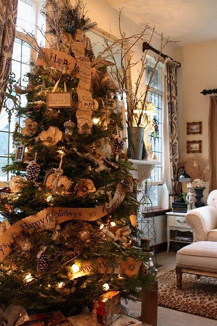 Rustic Christmas Tree Decorating Ideas | wonderful rustic decorated tree | Christmas Ideas