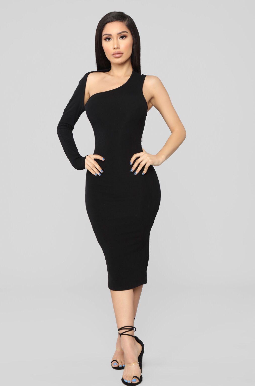 a901701301105 One Of A Kind Asymmetrical Dress - Black in 2019