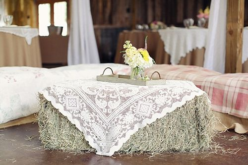 Hay Bale Table- better left outside. Notice the hay all over the ...