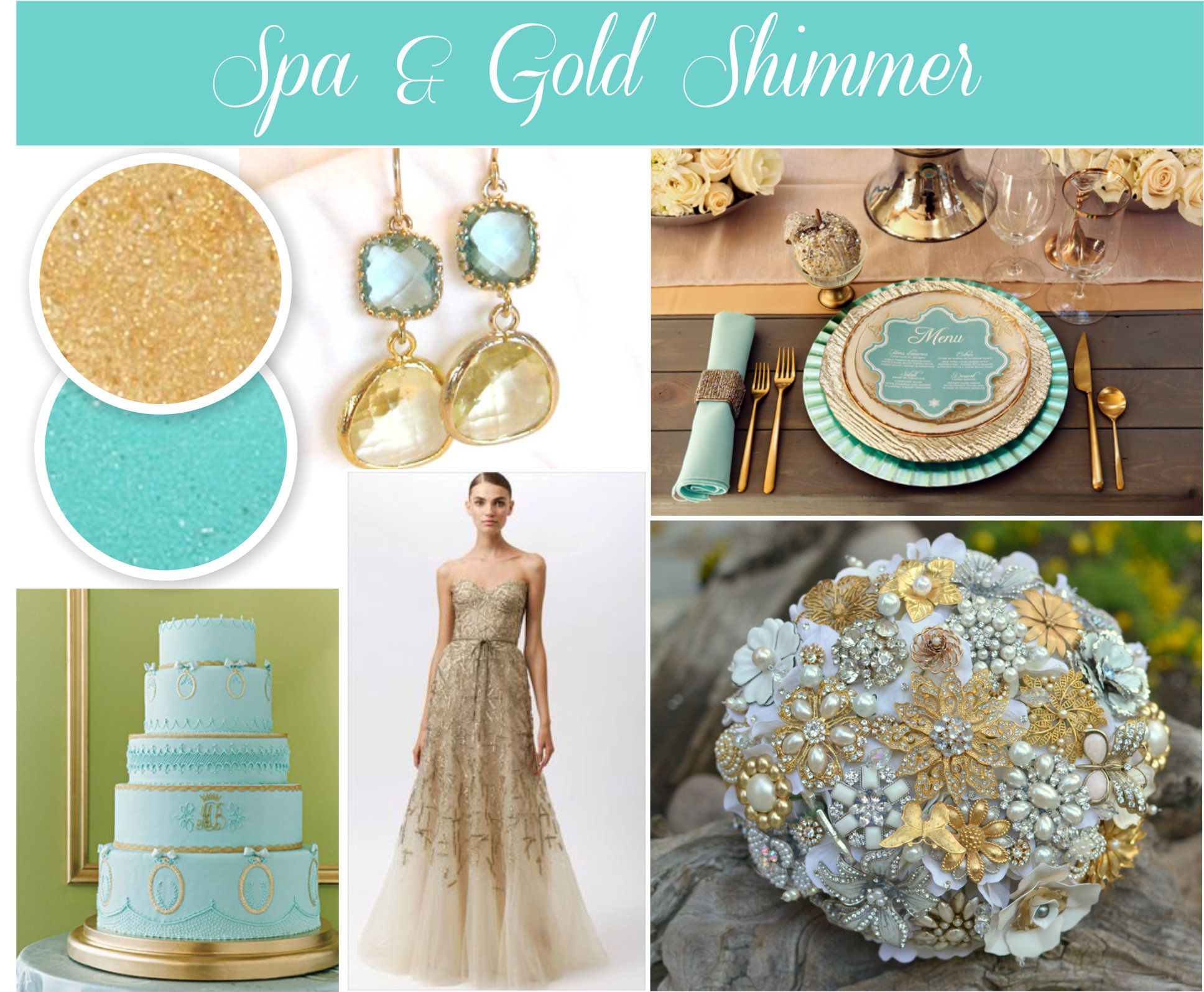 Gold And Aqua Wedding Colors For Spring Weddings Luxurious