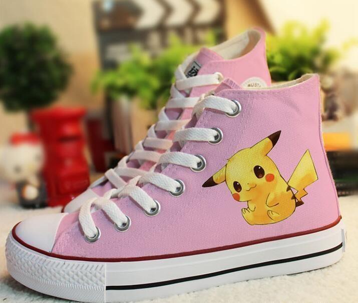 63849c080b3d3 Girls Boys Pokemon Sneakers Pumps Pikachu Anime Unisex Painted ...