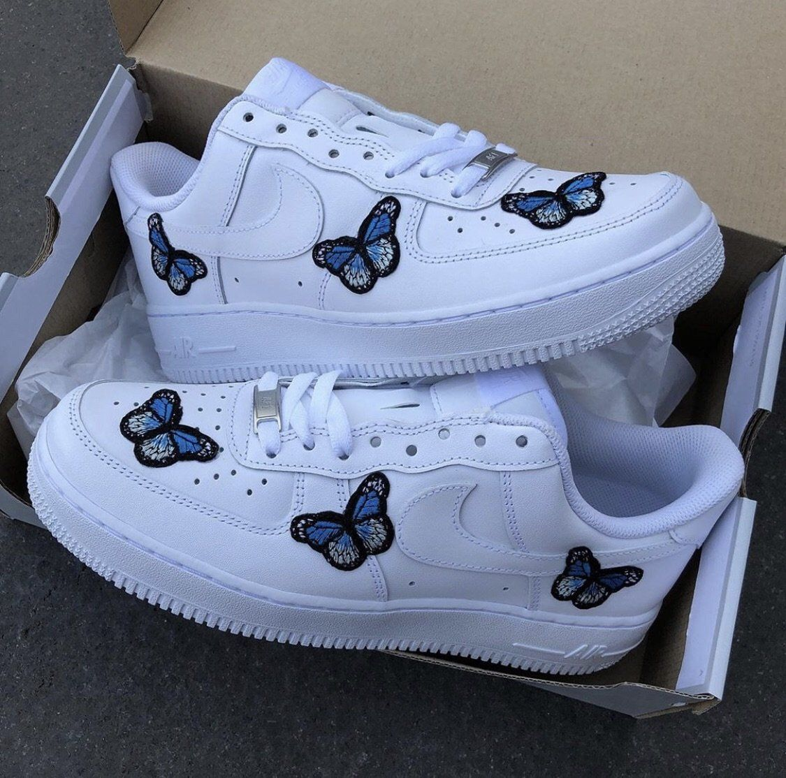 Custom Blue Butterfly AF1's in 2020 Nike shoes air force