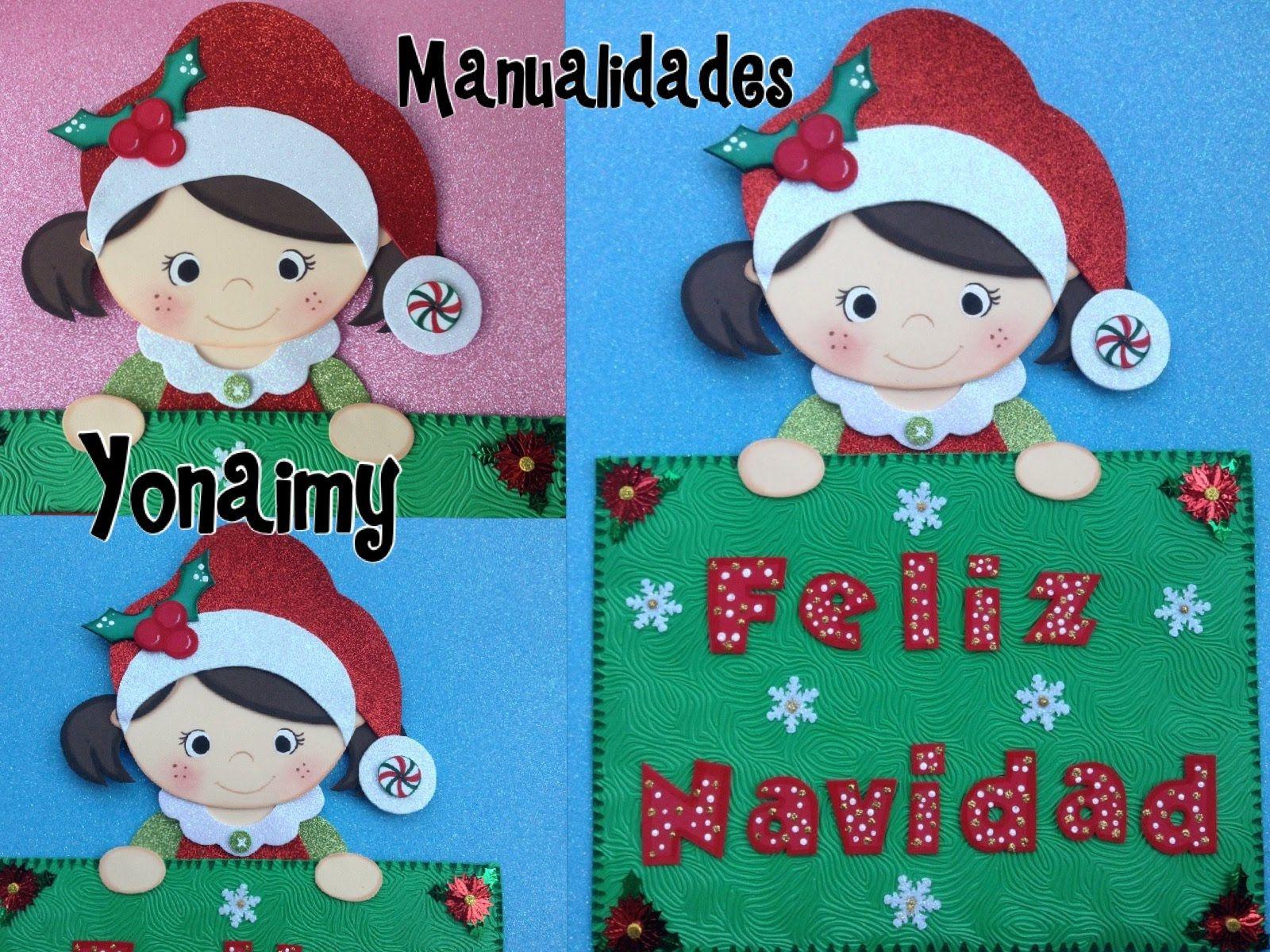 Letrero feliz navidad de foamy o goma eva v deos de - Manualidades navidad goma eva ...