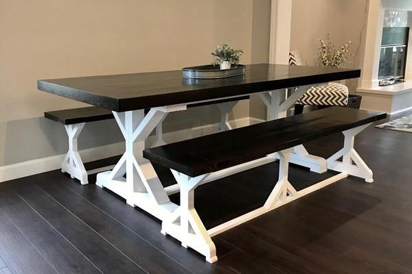 Walnut Fancy X Leg Table Furniture Minimalist Kitchen Design Farmhouse Dining Table