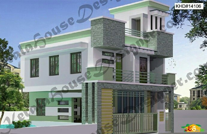Double Storied Flat Roof House Less Than 3000sqft 2bhk House Plan Kerala House Design House Plans