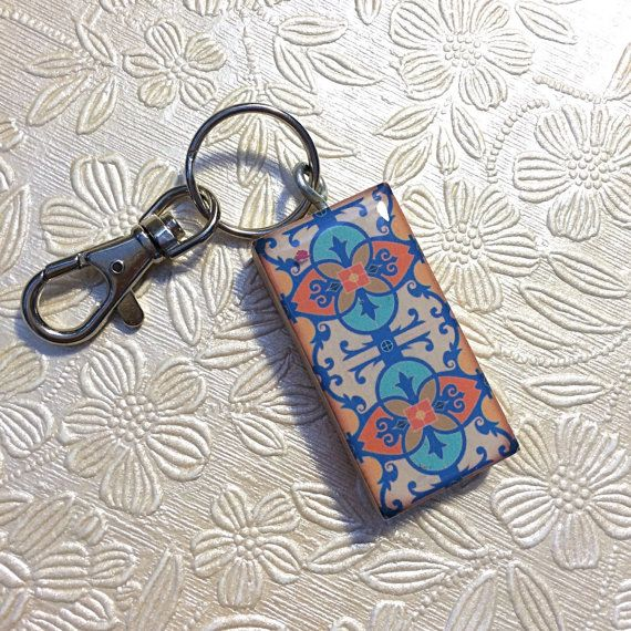 Keychain - Handcrafted Key Ring - Art Neouveau Keychain - Wedding Party Gift - Mosaic Keychain - Mission Style Keychain - Handmade Gift