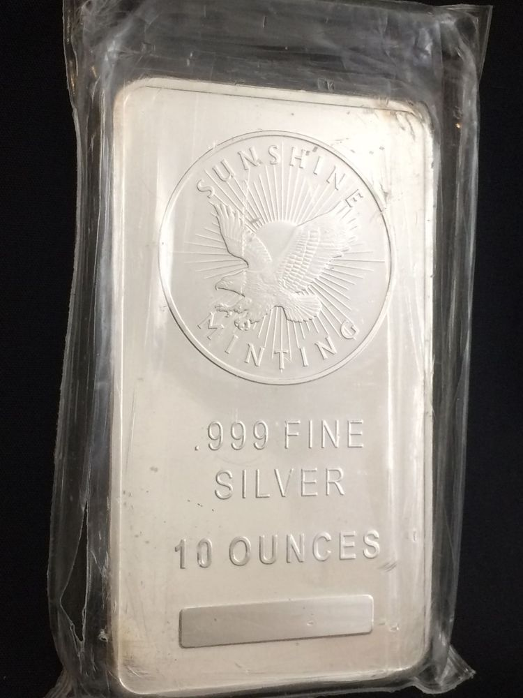 Silver Bar 10 oz .999 Fine Sunshine Minting