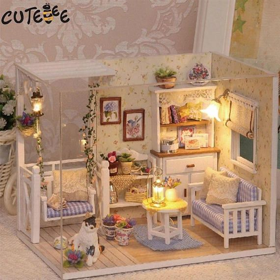 Great Doll House Furniture Diy Miniature Dust Cover Wooden Miniaturas Dollhouse  Toys For Children Birthday Gifts Kitten Diary