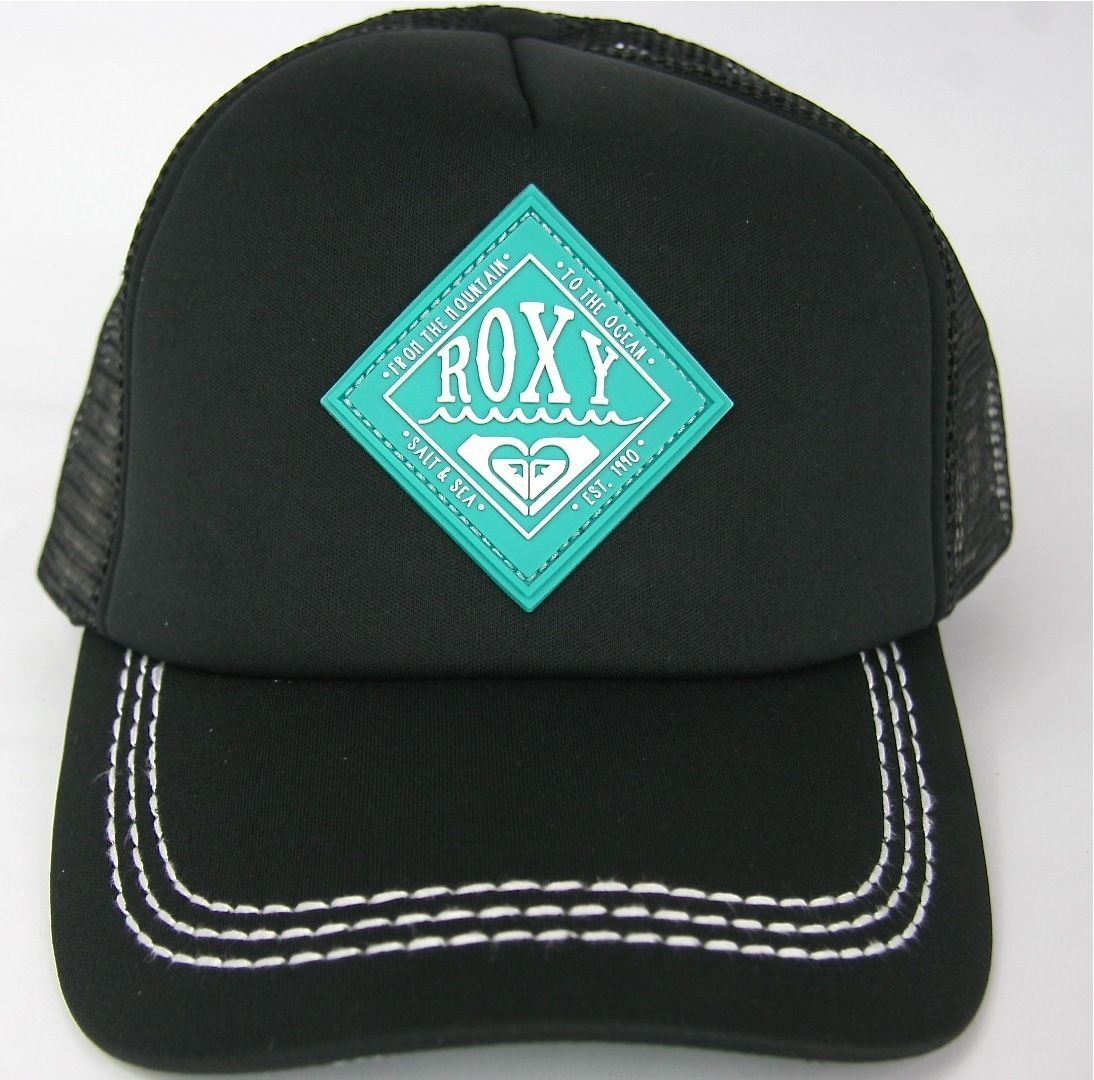 Roxy Snapback Trucker Cap Racy Roxy Beach Surf Black Roxy Hat ... 4d1c0de3162