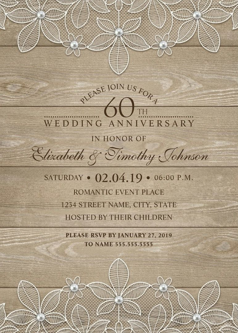 Country Wood 60th Wedding Anniversary Invitations - Lace and ...