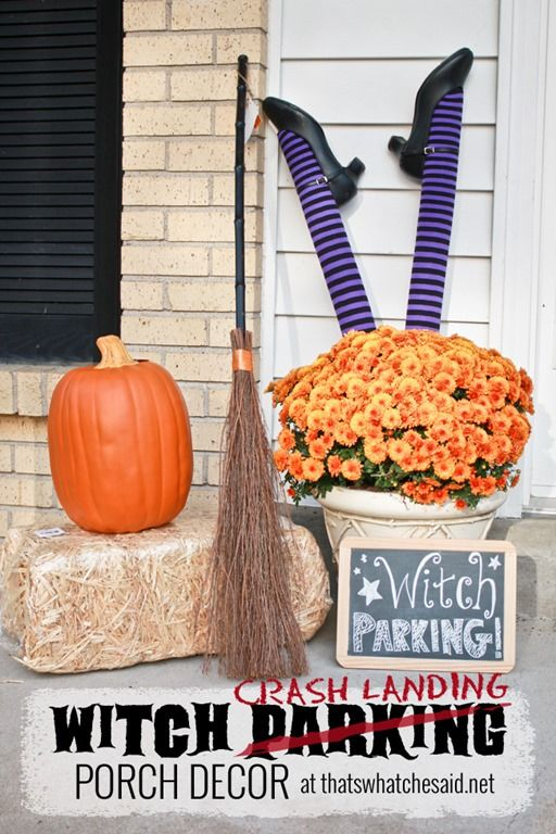 Witch Parkinger Crash Landing Porch Decor from *thatswhatchesaid - my halloween decorations