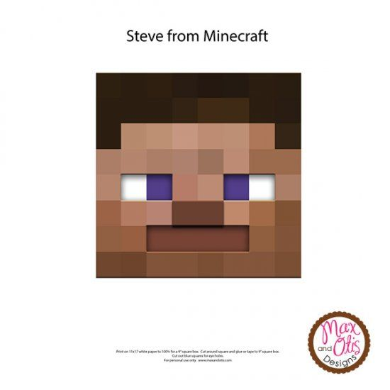 It's just an image of Minecraft Steve Head Printable within diy