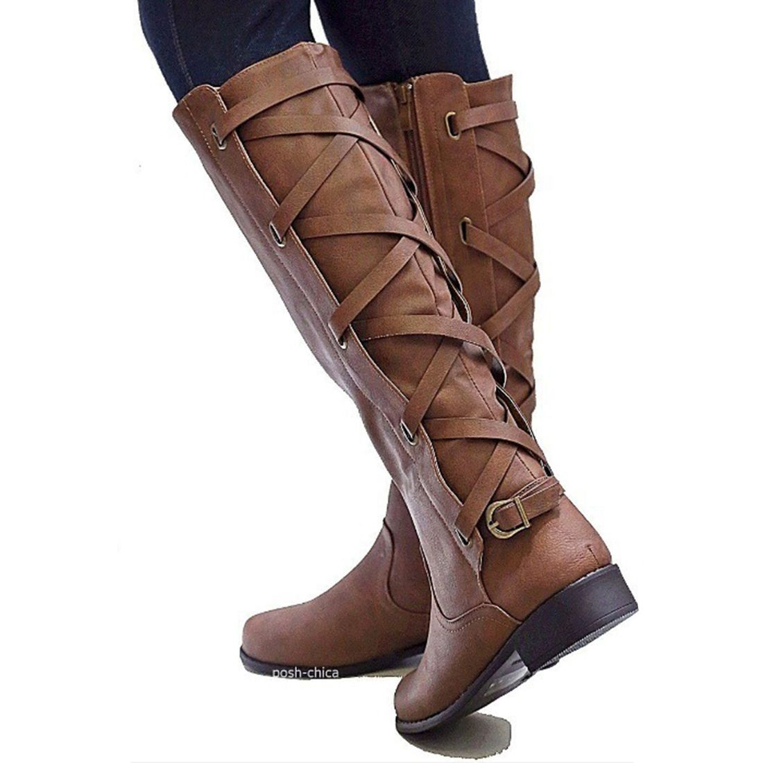 Womens Western Ankle Bootie Lace up Mid Calf Combat Zipper Boot Knee High Fashion Motorcycle Riding Boots