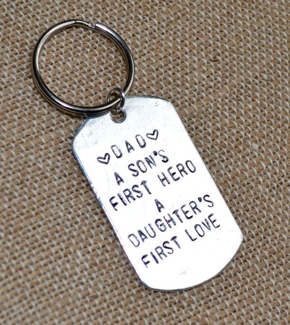 Gift for Dad/Men's Gift - A Son's First Hero, A Daughter's First Love - Birthday, Christmas, Father's Day Present - Hand Stamped, Custom