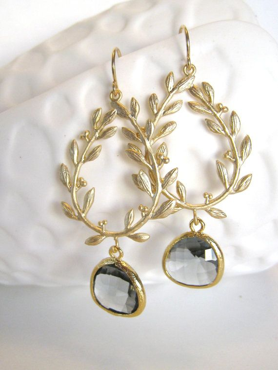 Grey Earrings Gold Leaf Earrings Charcoal Gray Leaf Leaves Laurel Wreath Greek Grecian Bohemian Grey Wedding Grey Bridesmaid Jewelry