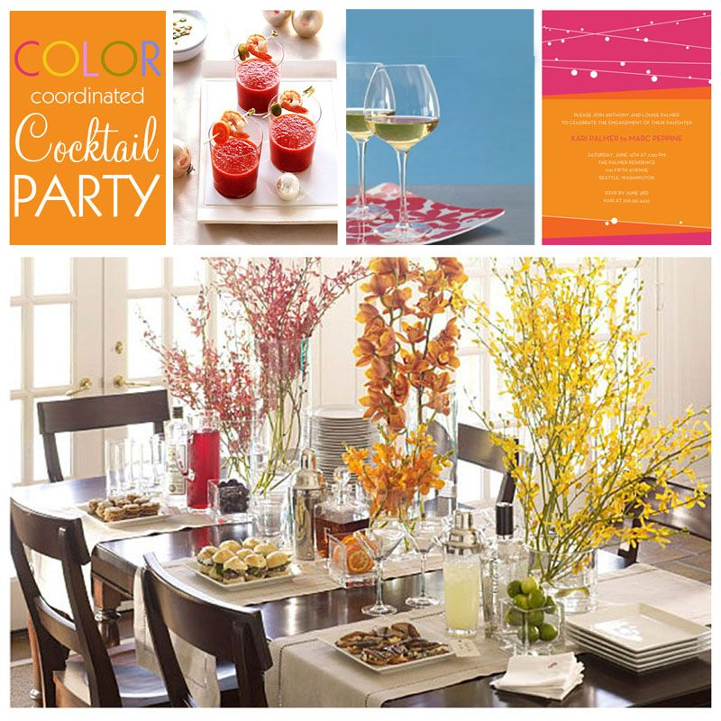 Cocktail Party Decorations Ideas Part - 33: Love The Tall Centerpieces Cocktail Party Tablescape Idea From Pottery Barn.