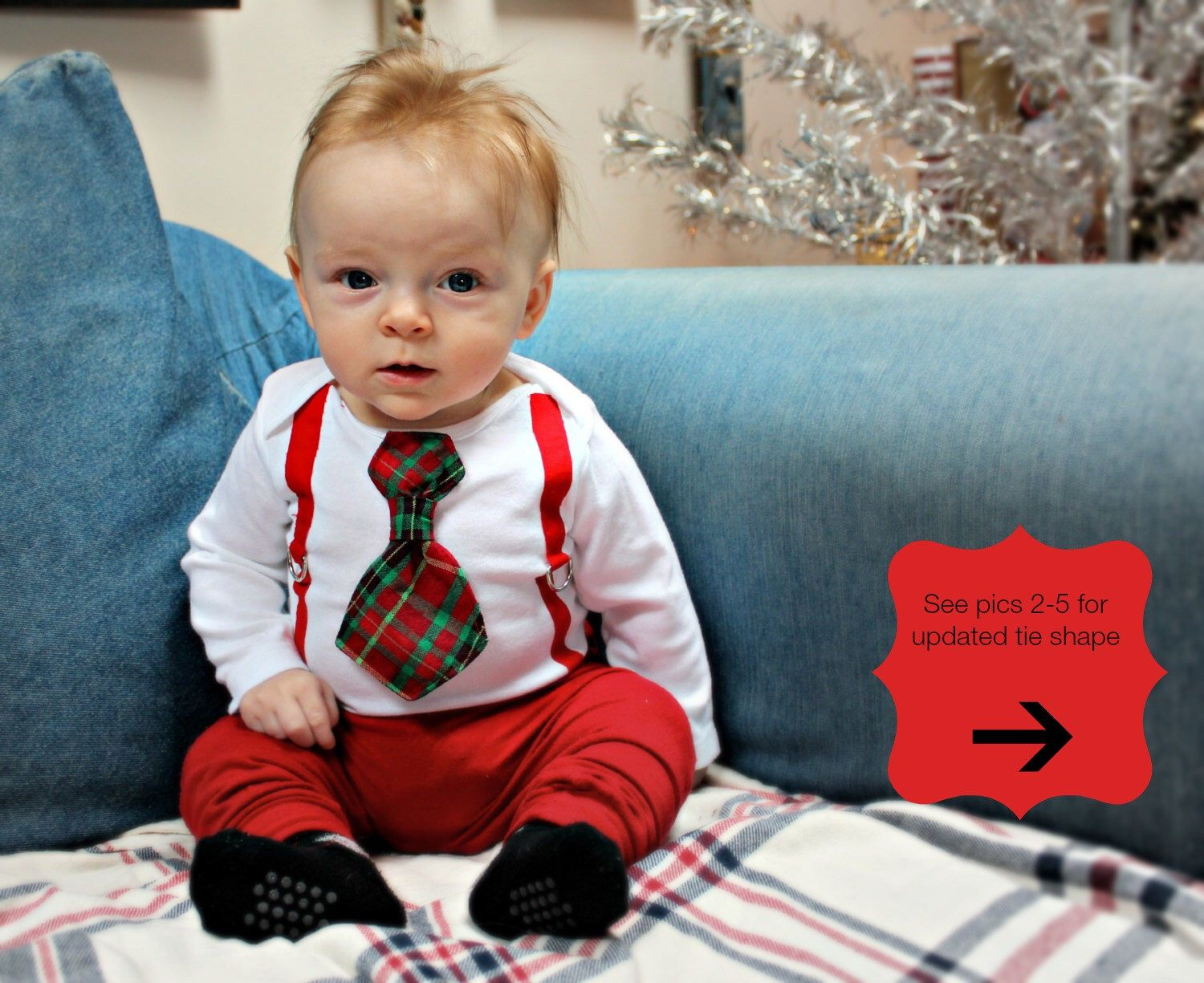 baby boy christmas outfit for newborn toddler or infant christmas tie and suspenders bodysuit