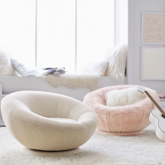 Tweed Groovy Swivel Chair Pbteen Bean Bag Chair Furniture Living Room Chairs
