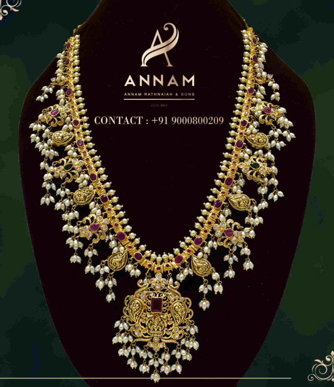Guttapusalu Haram Designs By Annam Jewels Indian Jewellery Designs In 2020 Jewelry Design Necklace Indian Jewellery Design 22 Carat Gold Jewellery