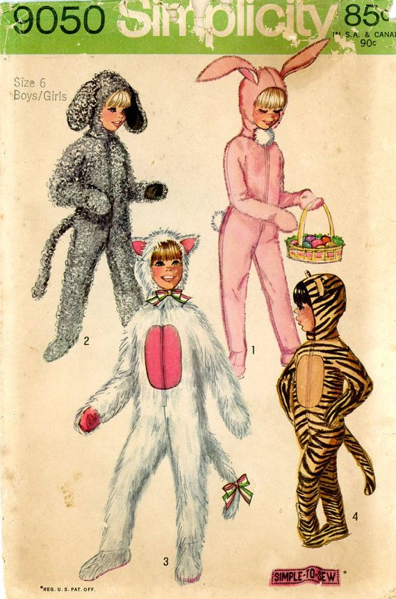 Vintage Costume Sewing Pattern - 1970 Boys and Girls Animal Costumes with Detachable Head Piece, Simplicity 9050 Size 6