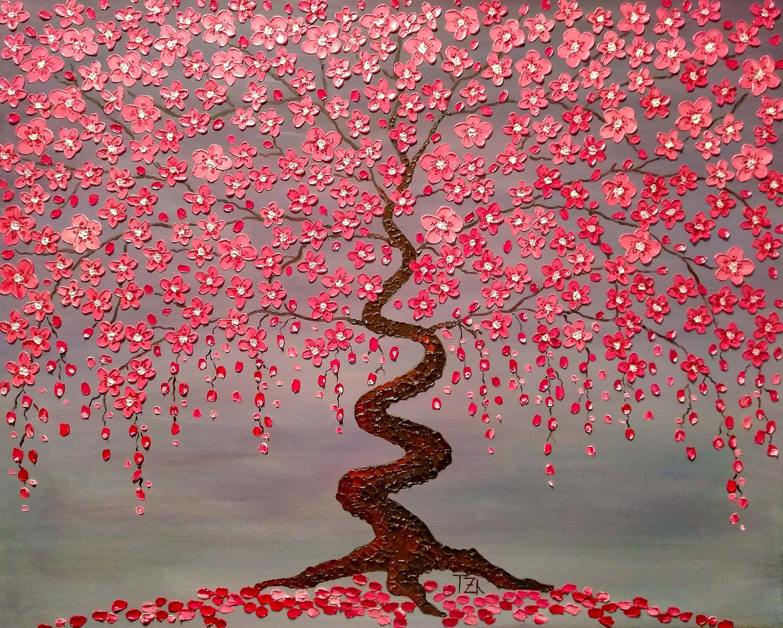 Cherry Blossom Trees The Jewels of Love Original oil impasto | Etsy