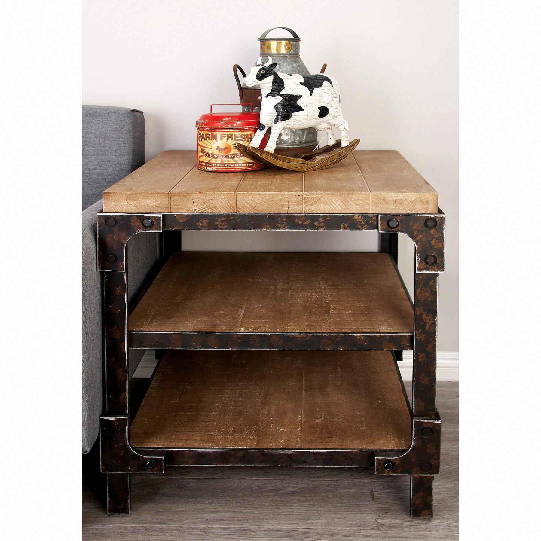 Decmode industrial 3 tiered side table homedecorideas