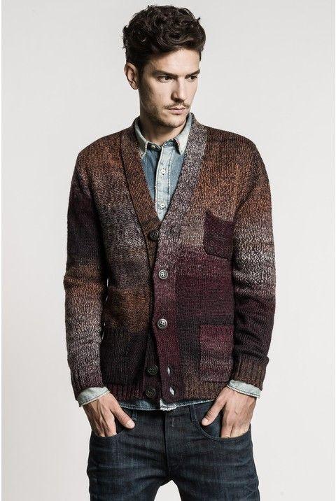 Three-pocket cardigan in wool/acrylic print yarn with inside-out motif jersey inserts. - Replay | Knitwear men, Knit men, Pocket cardigan