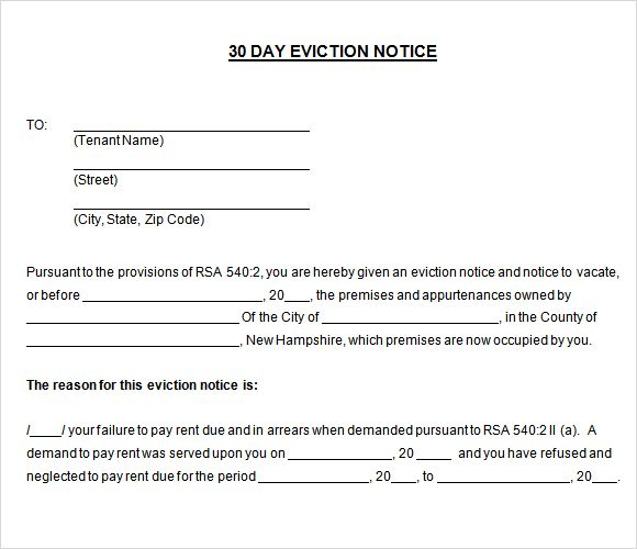 Printable Sample 30 Day Notice To Vacate Template Form – Eviction Notice Letter Free Download