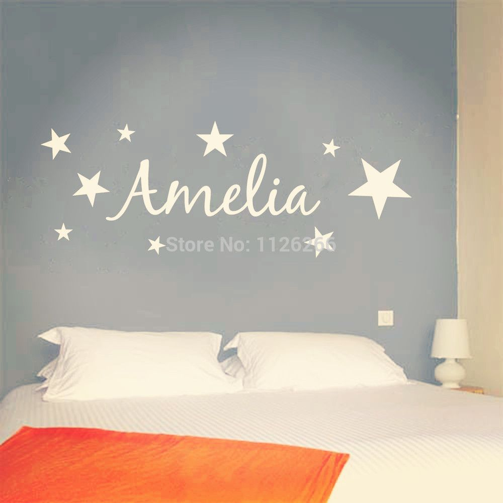 Customer made vinyl wall sticker personalized name with stars kids
