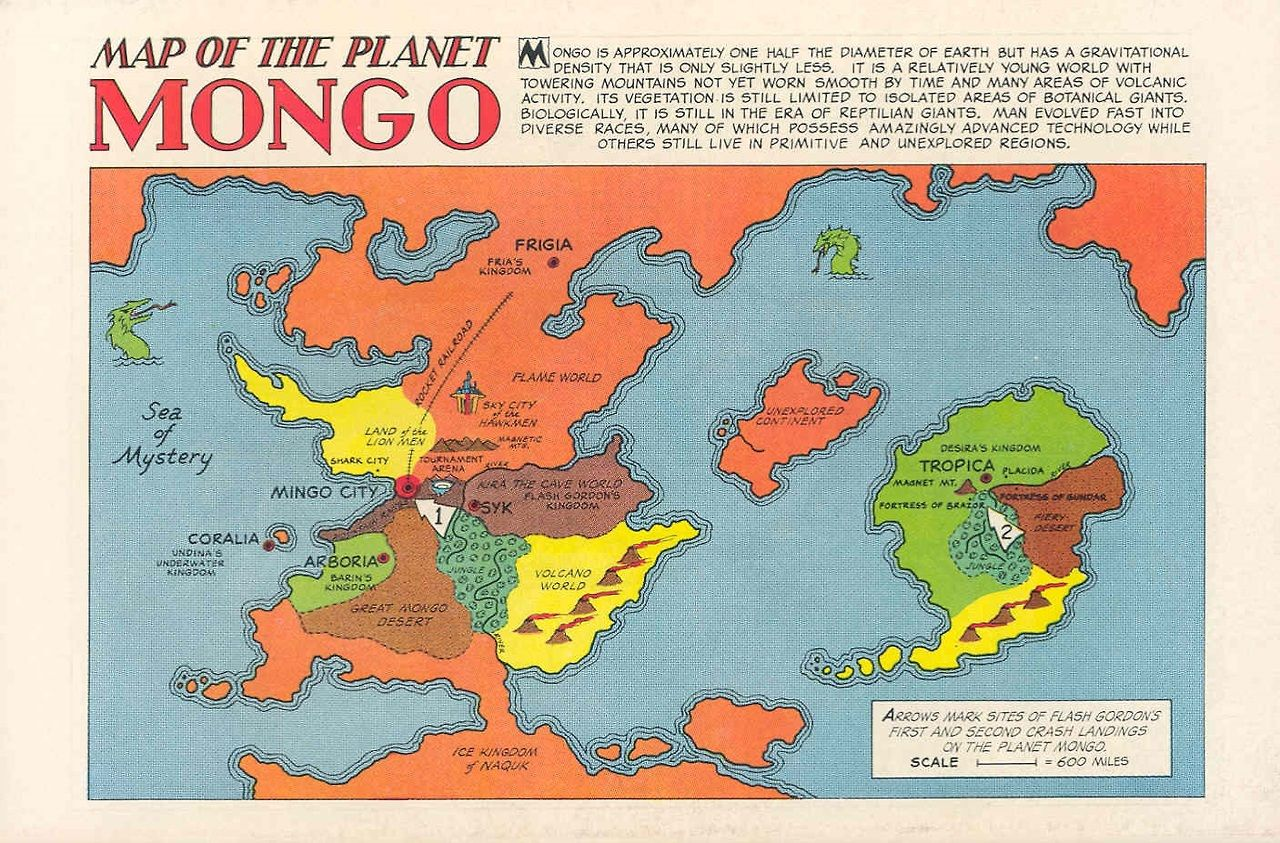 Map of the Planet Mongo Alex Raymond origin unknown (found ... Safehold Map on charis island map, dread empire map, second exit garlaige citadel map, world political map, elemental world map,