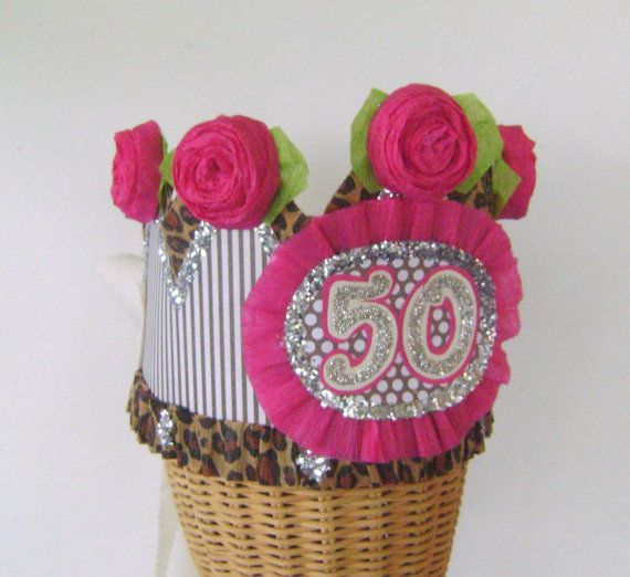 50th Birthday Party Crown Hat By Glamhatter