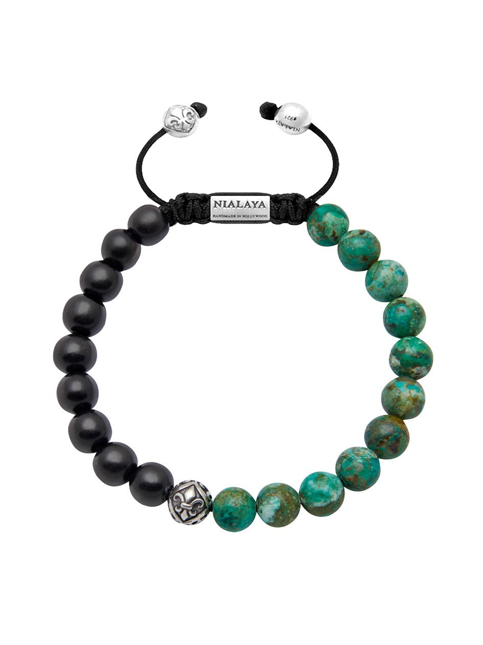Menus beaded bracelet with ebony bali turquoise and indian silver
